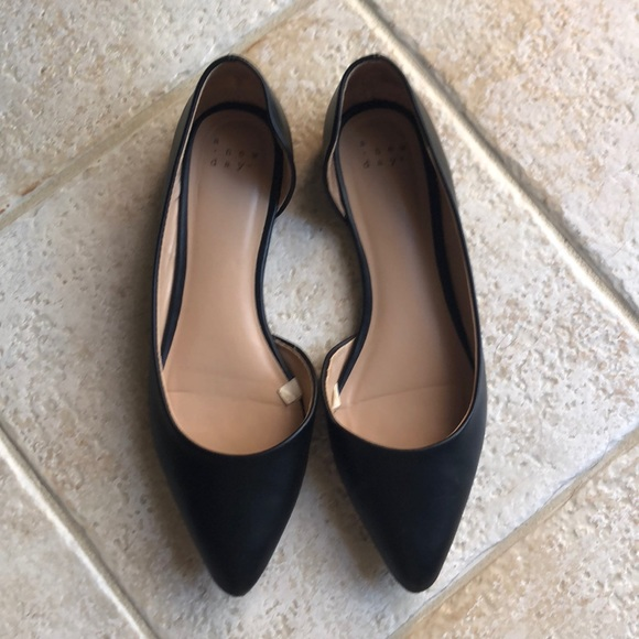 a new day Shoes - A NEW DAY Black Faux Leather Flats, 8